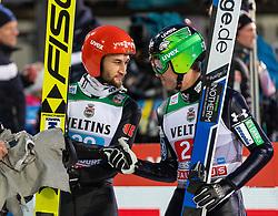 30.12.2018, Schattenbergschanze, Oberstdorf, GER, FIS Weltcup Skisprung, Vierschanzentournee, Oberstdorf, 1. Wertungsdurchgang, im Bild Markus Eisenbichler (GER) und Jernej Damjan (SLO) // Markus Eisenbichler of Germany and Jernej Damjan of Slovenia during his 1st Competition Jump for the Four Hills Tournament of FIS Ski Jumping World Cup at the Schattenbergschanze in Oberstdorf, Germany on 2018/12/30. EXPA Pictures © 2018, PhotoCredit: EXPA/ Peter Rinderer