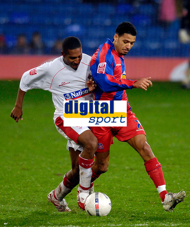 Photo: Alan Crowhurst.<br />Crystal Palace v Swindon Town. The FA Cup. 06/01/2007. Swindon's Ricky Shakes (L) tries to attack.