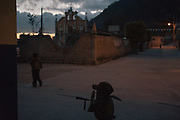 FEBRUARY 4: A young kid marches during a Regional Coordinator of Community Authorities (CRAC-PF) community police force gun training presentation in the town of Ayahualtempa, Guerrero state, Mexico.