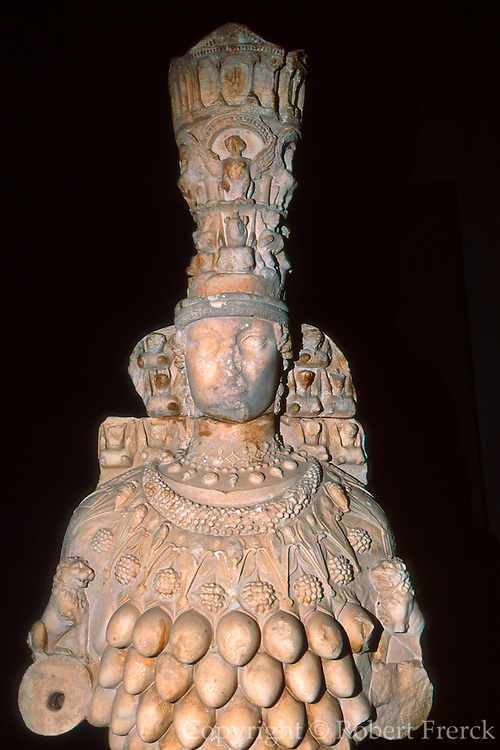 TURKEY, ROMAN CULTURE EPHESUS; Museum; statue of Artemis the mother goddess also called Cybele, Astarte, Isis or Rhea