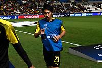 Borussia Dortmund's Shinji Kagawa warms before their UEFA Champions League Group H match against APOEL Nicosia at the GSP Stadium in Nicosia, Cyprus, on October 17, 2017. Photo: Angelos Tzortzinis/dpa
