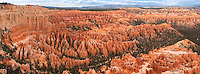 Massive panoramic view of Southern Utah's Bryce Canyon with its hundreds upon hundreds of hoodoos and other wild sandstone rock formations. In fact - while every continent on Earth has these hoodoos, nowhere in the world has as many as there are right here, in Bryce Canyon National Park! This massive print is at full natural size a whopping 9.75 feet x 3.6 feet (3m x 1.1m) and was created from twelve images. So large in fact that you can see the individual branches on every tree!