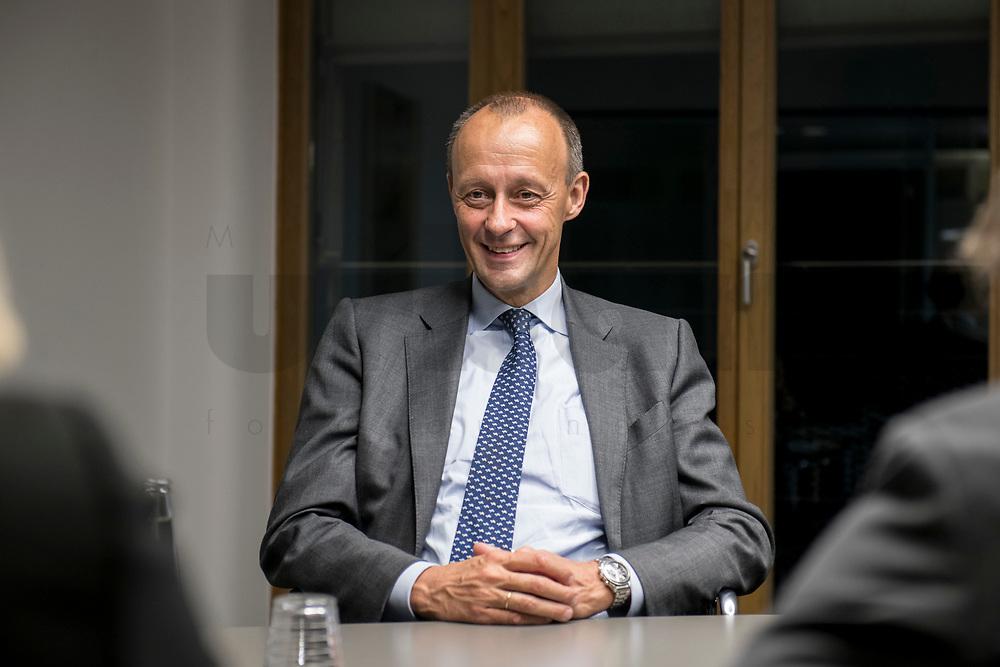 08 NOV 2018, BERLIN/GERMANY:<br /> Friedrich Merz, CDU, Rechtsanwalt, Manager und Kandidat fuer das Amt des Bundesvorsitzenden der CDU, waehrend einem Interview, Pariser Platz 6a<br /> IMAGE: 20181108-03-005