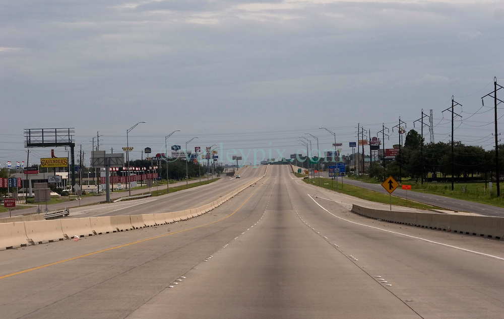 23sept05. I-10, East Texas.  Hurricane Rita evacuation.<br /> <br /> Heading west on Interstate 10 toward Beaumont. The streets deserted as Hurricane Rita approaches.<br /> Photo; ©Charlie Varley/varleypix.com