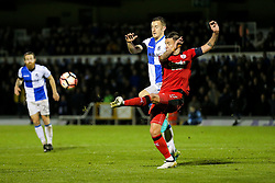 Jimmy Smith of Crawley Town clears from Tom Lockyer of Bristol Rovers - Rogan Thomson/JMP - 15/11/2016 - FOOTBALL - Memorial Stadium - Bristol, England - Bristol Rovers v Crawley Town - FA Cup First Round Replay.