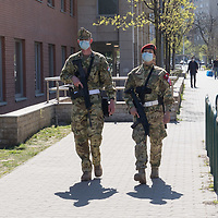 Military police patrol during COVID19 corona virus pandemic in Budapest, Hungary on April 9, 2020. ATTILA VOLGYI