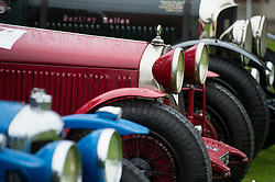 © Licensed to London News Pictures. 13/07/2015. Epsom, UK. Detail of the front of cars on show. The start of The Royal Automobile Club 1000 Mile Trial 2015 at Woodcote Park in Epsom, Surrey. The event, which starts and finishes at Woodcote Park, takes a fleet of over 40 classic cars from around the world, through a 1000 mile trial around the UK.  Photo credit: Ben Cawthra/LNP