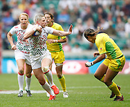 Photo by Andrew Tobin/Tobinators Ltd. Heather Fisher in action from the IRB London Rugby 7s tournament held at Twickenham Stadium, London on 12th May 2013. New Zealand won the tournament beating Australia in the final, and also won the overall 2012/13 series.