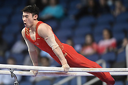 March 2, 2019 - Greensboro, North Carolina, US - YUE MA from China competes on the parallel bars at the Greensboro Coliseum in Greensboro, North Carolina. (Credit Image: © Amy Sanderson/ZUMA Wire)