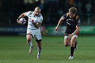 Benjamin Lapeyre of Brive takes Tyler Morgan of the Newport Gwent Dragons on the outside. European Challenge cup pool 3 match, Newport Gwent Dragons v Brive, at Rodney Parade in Newport, South Wales on Friday 14th October 2016.<br /> pic by  Simon Latham, Andrew Orchard sports photography.