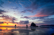 Sunset over beach, Cannon Beach, Oregon