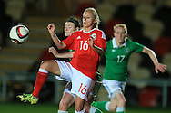 Nadia Lawrence of Wales in action. Friendly International Womens football, Wales Women v Republic of Ireland Women at Rodney Parade in Newport, South Wales on Friday 19th August 2016.<br /> pic by Andrew Orchard, Andrew Orchard sports photography.