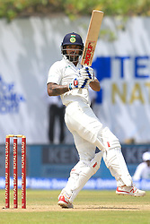 July 26, 2017 - Galle, Sri Lanka - Indian cricketer ..Shikhar Dhawan plays a shot during the 1st Day's play in the 1st Test match between Sri Lanka and India at the Galle International cricket stadium, Galle, Sri Lanka on Wednesday 26 July 2017. (Credit Image: © Tharaka Basnayaka/NurPhoto via ZUMA Press)