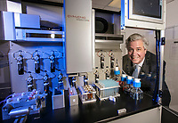 Andre de Fusco, CEO of Cynvenio, with the Liquid Biopsy machine which uses magnetism to isolate cancer cells in the blood, so patients donÌt need a surgical biopsy. shot in Westlake Village, CA. April 23, 2015 Photo by David Sprague