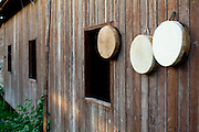 Macapa_AP, Brasil...Comunidade remascente de quilombolas do Curiau, em Macapa, Amapa. Na foto detalhe de pandeiros nas casas...The Quilombola remaining of Curiau, in Macapa, Amapa. In this photo .tambourines on the house...Foto: JOAO MARCOS ROSA / NITRO