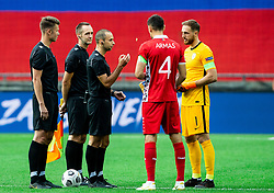Referee with Igor Armas of Moldova and Jan Oblak of Slovenia during the UEFA Nations League C Group 3 match between Slovenia and Moldova at Stadion Stozice, on September 6th, 2020. Photo by Vid Ponikvar / Sportida