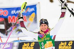 January 7, 2018 - Kranjska Gora, Gorenjska, Slovenia - Frida Hansdotter of Sweden on podium celebrating her second place at the Slalom race at the 54th Golden Fox FIS World Cup in Kranjska Gora, Slovenia on January 7, 2018. (Credit Image: © Rok Rakun/Pacific Press via ZUMA Wire)