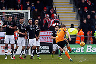 Ryan Watson of Barnet (R) takes a free kick at goal. EFL Skybet Football League two match, Barnet v Lincoln City at the Hive in London on Saturday 20th January 2018. <br /> pic by Steffan Bowen, Andrew Orchard sports photography.