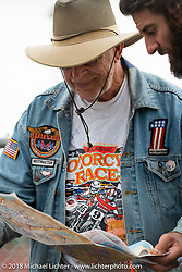 Merle volunteering at the Spirit of Sturgis antique motorcycle flat track race at the historic Sturgis Half Mile during the 78th annual Sturgis Motorcycle Rally. Sturgis, SD. USA. Monday August 6, 2018. Photography ©2018 Michael Lichter.