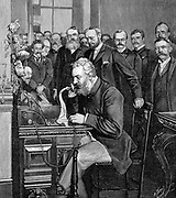Alexander Graham Bell (1847-1922) Scottish-born American inventor; patented telephone 1876; Bell inaugurating 1520 km telephone link between New York and Chicago, 18 October 1892. Engraving published Paris 1892