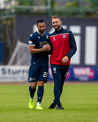 Dundee's Kane Hemmings and Dundee's manager James McPake. Dundee 1 v 0 Ayr United, Scottish Championship game played 10/8/2019.