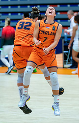 Dutch basketball team with Chatilla Van Grinsven, Karin Kuijt celebrate after the match against Hungary during a European Championship qualifier.