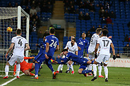 Sean Morrison of Cardiff city © heads and scores his teams  2nd  goal. EFL Skybet championship match, Cardiff city v Bolton Wanderers at the Cardiff city Stadium in Cardiff, South Wales on Tuesday 13th February 2018.<br /> pic by Andrew Orchard, Andrew Orchard sports photography.