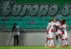 13.07.2016, SRC Stozice, Ljubljana, SLO, UEFA CL, NK Olimpija Ljubljana vs FK AS Trencin, Qualifikation, 2. Runde, Hinspiel, im Bild Rangelo Janga and other players of AS Trencin celebrate after scoring 3rd goal for Trencin // during the UEFA Championsleague Qualifier 2nd round, 1st Leg Match between NK Olimpija Ljubljana and FK AS Trencin at the SRC Stozice in Ljubljana, Slovenia on 2016/07/13. EXPA Pictures © 2016, PhotoCredit: EXPA/ Sportida/ Vid Ponikvar<br /> <br /> *****ATTENTION - OUT of SLO, FRA*****