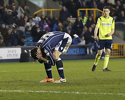 Millwall's Owen Garvan after he misses a golden chance - Photo mandatory by-line: Robin White/JMP - Tel: Mobile: 07966 386802 15/03/2014 - SPORT - FOOTBALL - The Den - Millwall - Millwall v Birmingham City - Sky Bet Championship