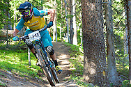 Nate Hills competes in Stage 1 of the Keystone Big Mountain Enduro in Keystone, CO. ©Brett Wilhelm