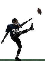 one  american football player man kicker kicking in silhouette studio isolated on white background