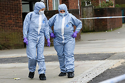 © Licensed to London News Pictures. 31/03/2019. London, UK. Forensic Officers at the crime scene on Fore Street in Edmonton, north London where a person was stabbed just after 9.30am this morning. According to the The victim was transferred to a hospital by Air Ambulance and his condition is unknown. Photo credit: Dinendra Haria/LNP