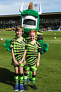 Matchday mascots during the EFL Sky Bet League 2 match between Forest Green Rovers and Colchester United at the New Lawn, Forest Green, United Kingdom on 14 September 2019.