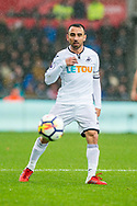 Leon Britton of Swansea City in action. Premier league match, Swansea city v Leicester city at the Liberty Stadium in Swansea, South Wales on Saturday 21st October 2017.<br /> pic by Aled Llywelyn, Andrew Orchard sports photography.