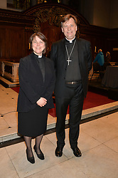 Left to right, the REV.LUCY WINKETT and the Bishop of Fulham JONATHAN BAKER at a reception and debate to celebrate the publication of  'Women in Waiting, Prejudice at the the Heart of the Church' by Julia Ogilvy held at St.James's Church, 197 Piccadilly, London on 11th March 2014.