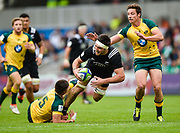New Zealand flanker Luke Jacobson is hels by Australia full-back Jack Maddocks during the World Rugby U20 Championship 5rd Place play-off  match Australia U20 -V- New Zealand U20 at The AJ Bell Stadium, Salford, Greater Manchester, England on Saturday, June  25  2016.(Steve Flynn/Image of Sport)