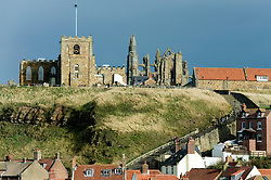 Whitby Abbey Gothic ruined monastery, Saint Marys Church and the 199 steps perched on the cliffs looking down on Whitby.18 September 2010 .Images © Paul David Drabble