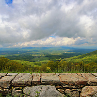 """""""Lookin Over the Blues""""<br /> <br /> Wonderful scenic view of the Blue Ridge Mountains from the stone walls on Skyline Drive!!<br /> <br /> The Blue Ridge Mountains by Rachel Cohen"""