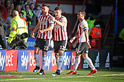 Sheffield Utd forward Scott Hogan (11) celebrates his goal 2-1 during the EFL Sky Bet Championship match between Sheffield United and Bristol City at Bramall Lane, Sheffield, England on 30 March 2019.