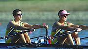 Sydney. AUSTRALIA. 2000 Summer Olympic Regatta, Penrith. NSW.  <br /> <br /> AUS LM2X. Bow: Haimish Karrasch. Str: Bruce Hick  <br /> <br /> [Mandatory Credit Peter SPURRIER/ Intersport Images] Sydney International Regatta Centre (SIRC) 2000 Olympic Rowing Regatta00085138.tif