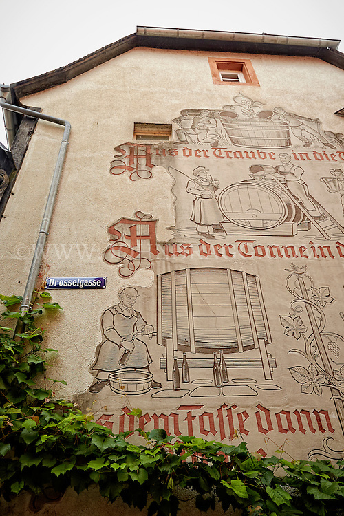 View of a wine-making facade on Throstle Alley, Rüdesheim, Germany.