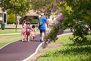 Family Walking on Trail at Rosemead Park