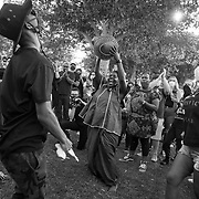 Protesters at a Black Lives Matter demonstration in Simi Valley, a predominantly white, conservative, Republican suburb, dance as part of the BLM protest on Juneteenth.