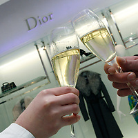 Guests cheer the opening of the new Dior shop on Andrassy Street.