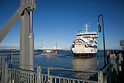 The ferry from Landskrona arrives into Ven, Sweden,23rd of August 2016.Ven is a small island in the straight between Sweden and Denmark. It was the home of the astronomer Tycho Brahe in the 17th century, given to him by the Dansih king of the time, Fredrik ll.