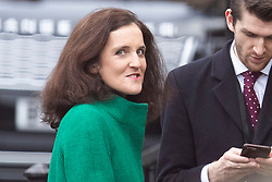 © Licensed to London News Pictures. 16/12/2019. London, UK. Secretary of State for Environment, Food and Rural Affairs Theresa Villiers talks to a colleague in Houses of Parliament .  Photo credit: George Cracknell Wright/LNP