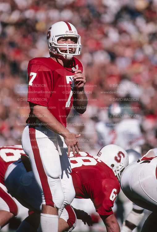 PALO ALTO, CA - SEPTEMBER 26:  Quarterback John Elway #7 of Stanford University calls signals during an NCAA football game against Ohio State played on September 26, 1981 at Stanford Stadium in Palo Alto, California.  (Photo by David Madison/Getty Images)  *** Local Caption *** John Elway