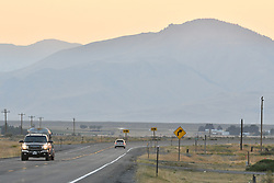 Sundown on the Road in Idaho, near Arco and Atomic City Route 26. After the Total Solar Eclipse 2017.