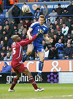 Photo: Steve Bond/Richard Lane Photography. <br />Leicester City v Scunthorpe United. Coca Cola Championship. 29/03/2008. Steve Howard R) heads the ball down above Izzy Iriekpen (L)