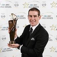 8 November 2013; Clare hurler Patrick Donnellan with his 2013 GAA GPA All-Star award, sponsored by Opel, at the 2013 GAA GPA All-Star awards in Croke Park, Dublin. Picture credit: Paul Mohan / SPORTSFILE *** NO REPRODUCTION FEE ***